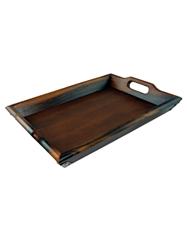 bandejas de luxo 48,5x36,5x5 cm natural madeira (4 unidade)