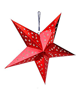 estrellas colgantes Ø 45 cm rojo papel (10 unid.)