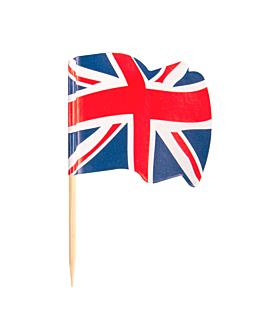 """petits drapeaux """"u.k"""" 4x3/6,5 cm assorti bois (144 unitÉ)"""