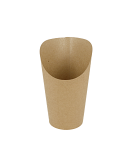 open cups chips 'natural' 9 oz - 270 ml 200 + 25pe gsm Ø7x10,5 cm brown cardboard (2500 unit)