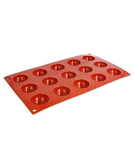 molde semiesfera Ø 4x2 cm 17,5x30 cm rojo silicona (1 unid.)