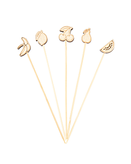 "decorated picks ""fruits"" 12 (h) cm assorted bamboo (100 unit)"