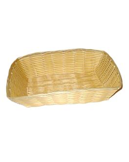 cestas sÍmil mimbre rectangulares 30x22x7 cm natural pp (12 unid.)