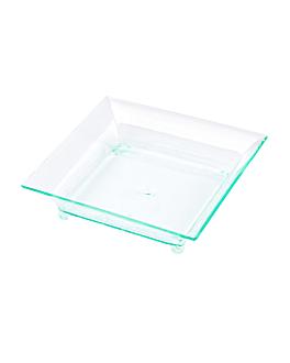 """recipientes aperitivos """"cuadrados"""" 6,3x6,3x1,5 cm verde agua ps (720 unid.)"""