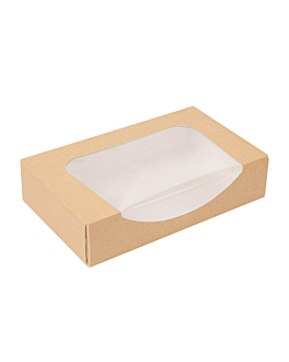 sushi boxes+frontal 'thepack' 220 gsm + opp 19,7x12x4,5 cm brown nano-micro corrugated cardboard (400 unit)