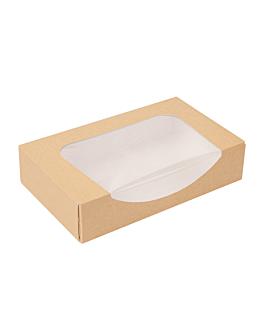 contenitori sushi+finestra 'thepack' 220 g/m2 + opp 19,7x12x4,5 cm marrone cartone ondulato a nano-micro (400 unitÀ)