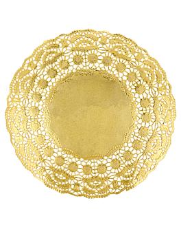 rundes zierdeckchen metallisiert 40 g/m2 + 20 g/m2 Ø 21,5 cm goldfarben lithographie metallisiert (100 einheit)