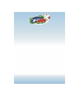 "hojas din a-4 ""comidas"" 21x29,7 cm azul papel (100 unid.)"