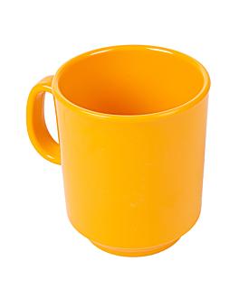 coffee mugs 240 ml Ø 8x9 cm yellow melamine (12 unit)