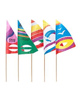 decorazioni per gelati - vela surf 18 (h) cm colori varie legno (100 unitÀ)