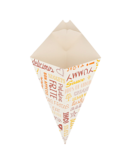 cones with flaps 'parole' 250 g 275 gsm 16x27 cm white cardboard (1200 unit)