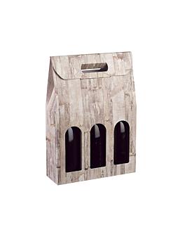 boÎtes 3 bouteilles 27x9x38,5 cm bois carton (30 unitÉ)