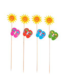 "decorazioni gelati ""girasoli"" 20 (h) cm colori varie legno (100 unitÀ)"