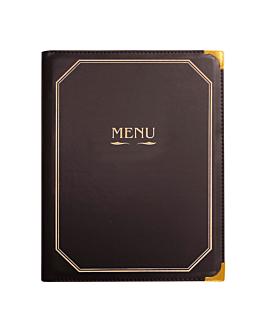 porte menu 8 pochettes din-a4 25,5x33 cm marron pvc (1 unitÉ)