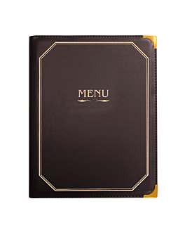 menu card 8 sleeves din-a4 25,5x33 cm brown pvc (1 unit)