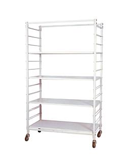 carrello per lavanderia 100x50x170 cm bianco ferro (1 unitÀ)