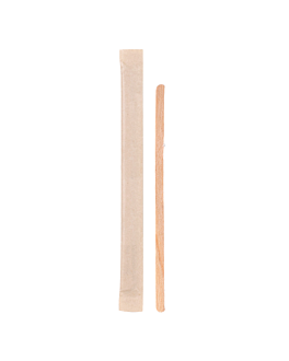 coffee stirrers wrapped kraft 0,5x11x0,15 cm natural wood (1000 unit)