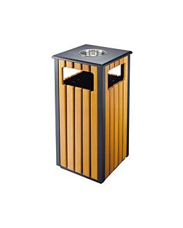 papelera/cenicero, exteriores 35x35x81 cm marrÓn madera (1 unid.)