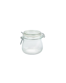 storage jar + clip lid 500 ml Ø 9,5x10,5 cm clear glass (24 unit)