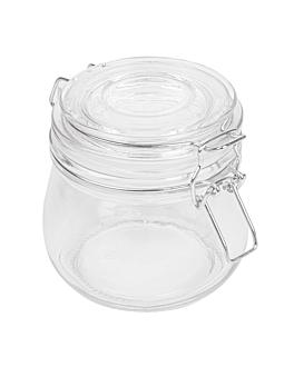 vasetto conserve + chiusura clip 500 ml Ø 9,5x10,5 cm trasparente cristal (24 unitÀ)