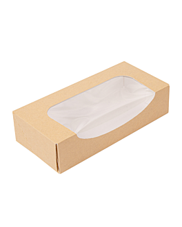 sushi boxes+window 'thepack' 220 gsm + opp 19,7x9x4,5 cm brown nano-micro corrugated cardboard (400 unit)