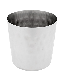 classic mini tubs for fries, hammered Ø 8,5x8,5 cm silver stainless steel (12 unit)