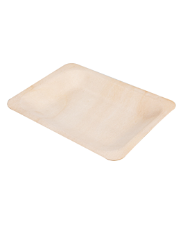 rectangular trays 'wood' 12x9,5x1,2 cm natural wood (50 unit)