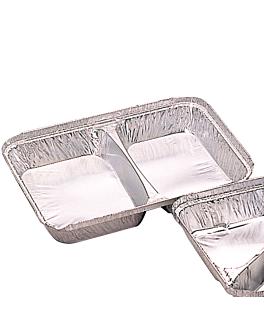 recipientes 2 compartimentos 520/530 ml 22,7x17,7x3 cm aluminio (800 unid.)