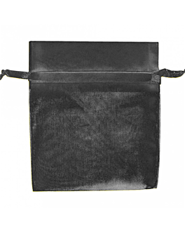 bolsas grandes organdÍ con cierre 35x40 cm negro microfibra (48 unid.)