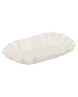 bandejas ovales plastificadas 22x14x3,75 cm blanco cartÓn (1000 unid.)