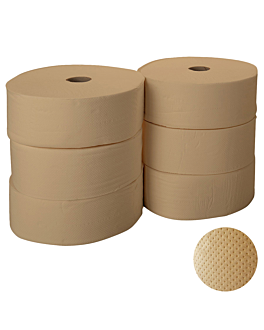 """maxi jumbo"" toilet paper 1 ply - 2012 sheets 'feel green' 34 gsm Ø26x9,6 cm natural recycled (6 unit)"