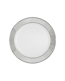 6 platos ribete plata Ø 19 cm blanco ps (24 unid.)