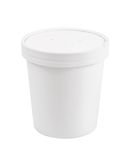 contenitori con coperchi 480 ml 18pe + 340 + 18 pe g/m2 Ø9,6/7,5x10 cm bianco cartone (250 unitÀ)
