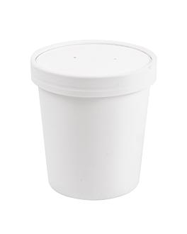 containers + lids 480 ml 18pe + 340 + 18 pe gsm Ø9,6/7,5x10 cm white cardboard (250 unit)
