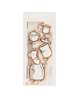 "cutlery sachets + napkin ""bon appetit"" 'just in time' 90 + 10pe gsm 8,5x19,5 cm white airlaid (250 unit)"