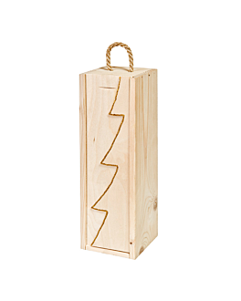 "caja 1 botella ""abeto"" 36x11x10,5 cm oro madera (10 unid.)"