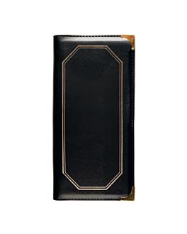 menu card 2 sleeves 10,5x29,7 cm black pvc (1 unit)
