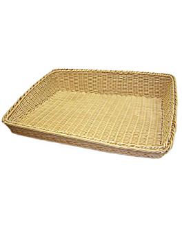 cesta sÍmil mimbre rectangulares inclinadas 45x60x5/12 cm natural pp (1 unid.)