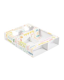 bandejas transporte 2 copos+2 compart. 'parole' 450 g/m2 26x19x5 cm branco cartolina (200 unidade)