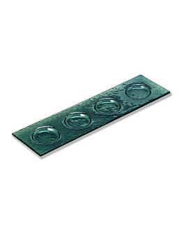 platos oblong 4 compart. 12,5x45cm verde agua cristal (18 unid.)