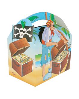"party boxes ""pirates"" 320 gsm 17x16x10 cm four coloured cardboard (300 unit)"