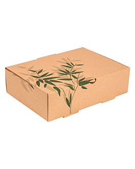 container for take away meals corrugated card 'feel green' 26x18x7 cm brown cardboard (100 unit)