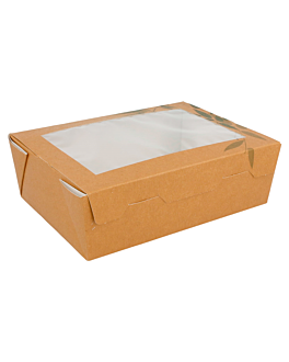 salad boxes with window 'feel green' 1 l 300 gsm 12x17x5,5 cm brown cardboard (25 unit)