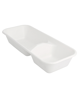 containers 2 compart. 'bionic' 850 ml 26x11,1x4,7 cm white bagasse (480 unit)