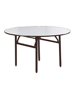 mesas redondas plegables Ø 183x76 cm negro acero (2 unid.)