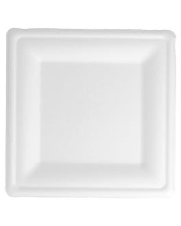 platos cuadrados 'bionic' 20x20x1,5 cm blanco bagazo (500 unid.)