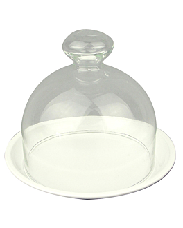 stand for cakes with glass cover Ø 24,5x19 cm white metal (1 unit)