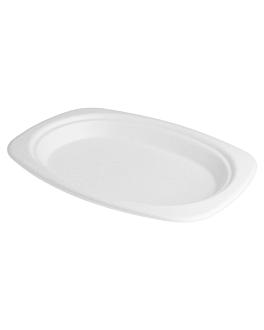 oval trays 'bionic' 23,3x16,5x2 cm white bagasse (800 unit)