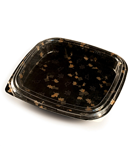 120 u. sushi containers + lids 27x27x4,5 cm black ps (120 unit)