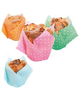 muffin cups 'tulip - polka' 50 g/m2 17,5x17,5 cm assorted cellulose (900 unit)